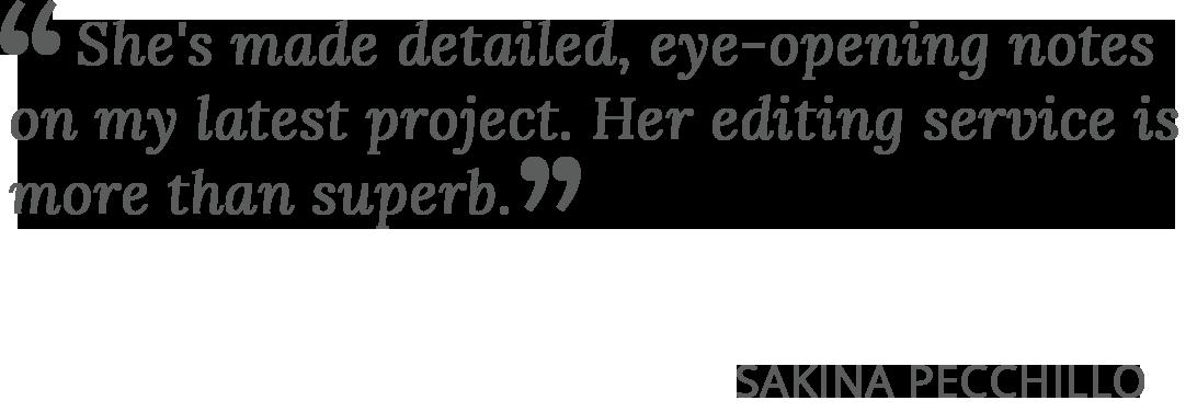 Praise for Nikki Busch Editing from author Sakina Pecchillo